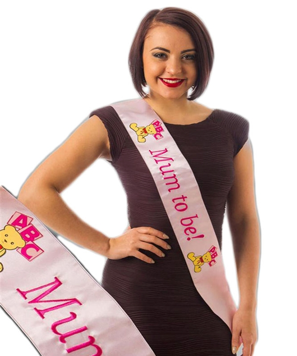 Pink Mum to Be Sash with Embroidered Logo