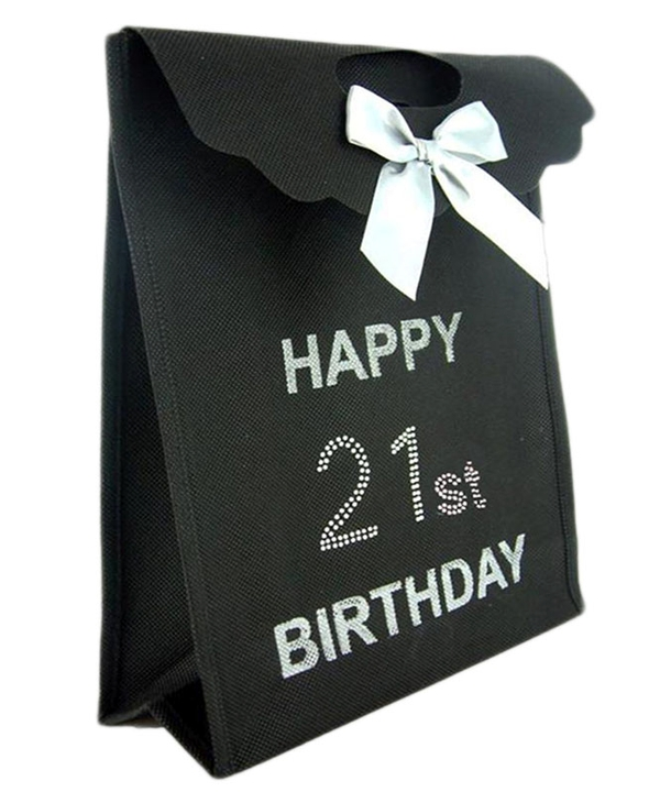 Black Diamante 21st Gift Bag