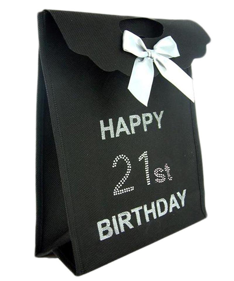 Black Diamante 21st Gift Bag
