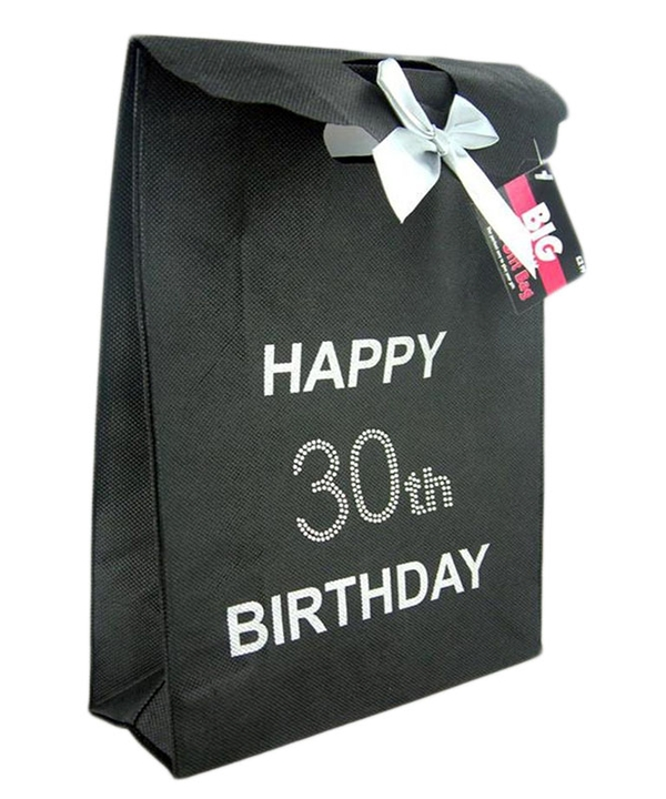 Black 30th Diamante Gift Bag