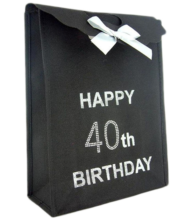 Black 40th Diamante Gift Bag