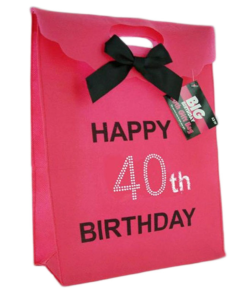 Pink 40th Diamante Gift Bag