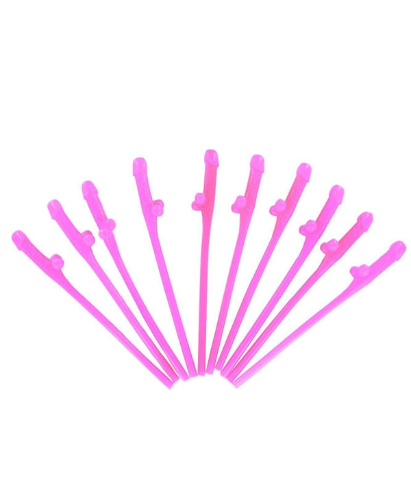 10 Pcs of Hot Pink Willy Straws