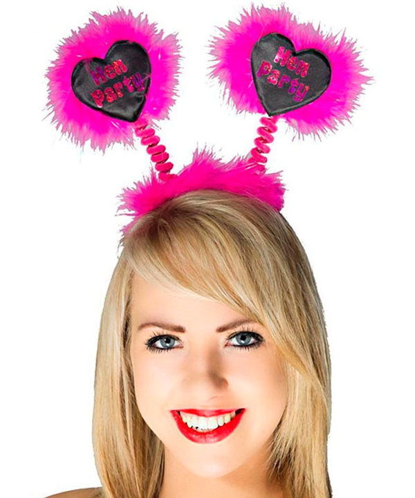 Hot Pink Bopper Hen Party Hot Pink Foil on Black Heart