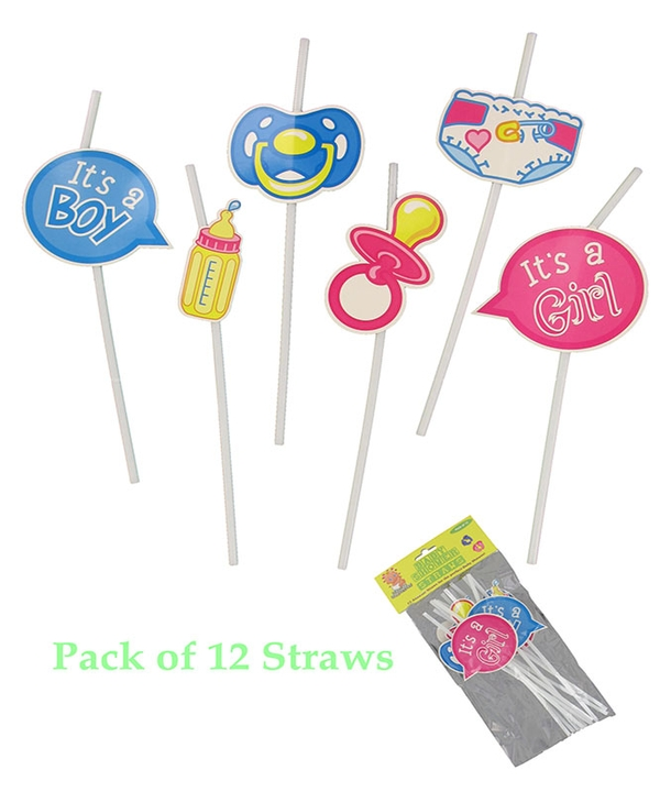 12 Assorted Baby Shower Straws