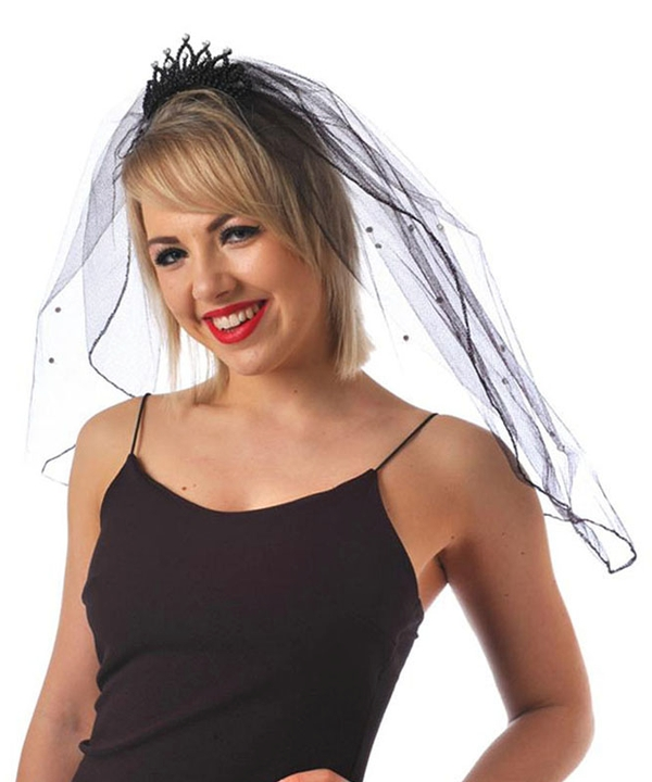 Black Mini Tiara with Veil