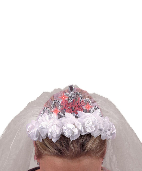 Flashing Tiara Veil Bride to Be Rose