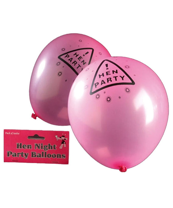 Set of 12 Pink Hen Night Balloons