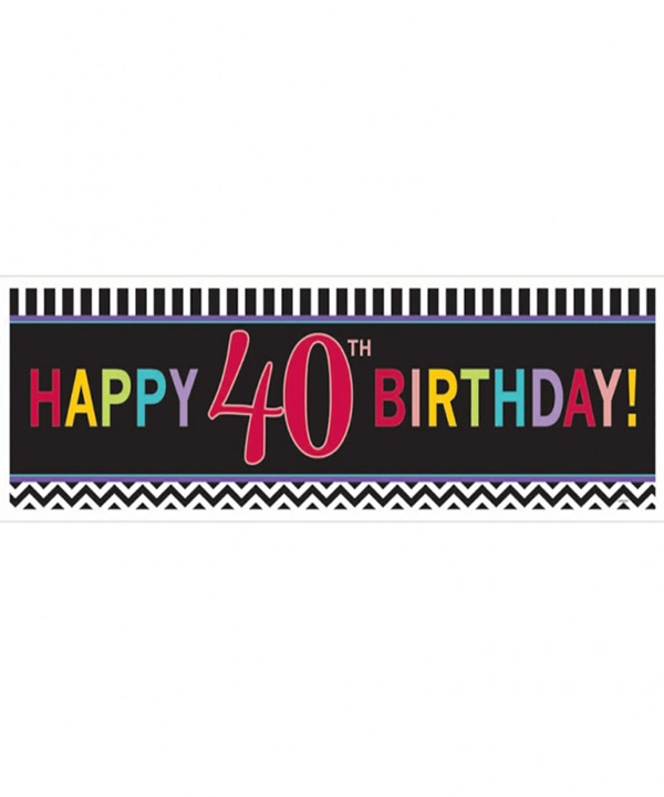 Chevron 40th Birthday Giant Banner
