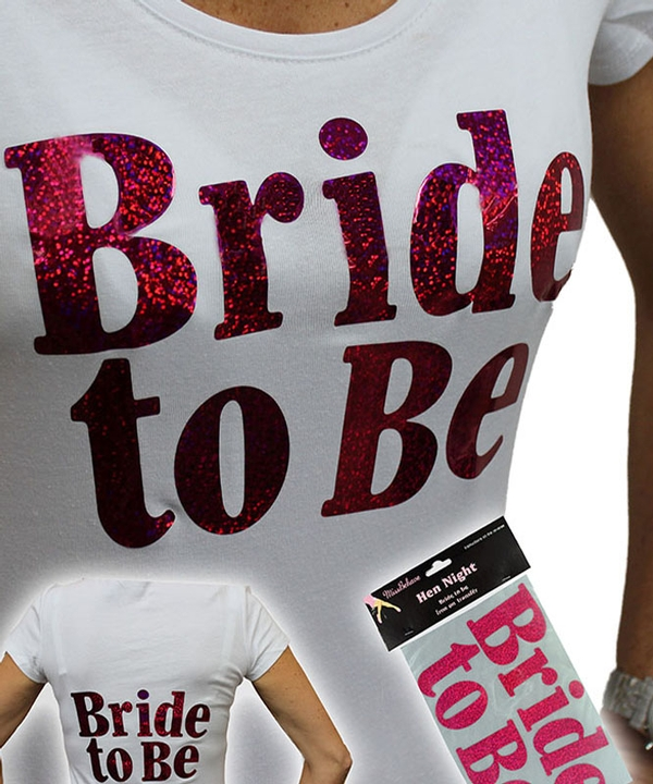 Large Size Bride to Be Pink Iron-On Logo