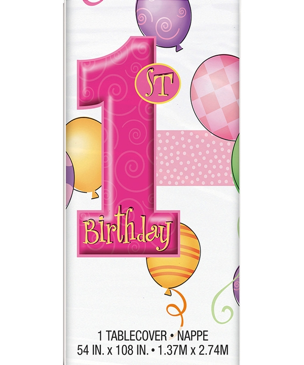 First Birthday Balloons Pink Tablecover