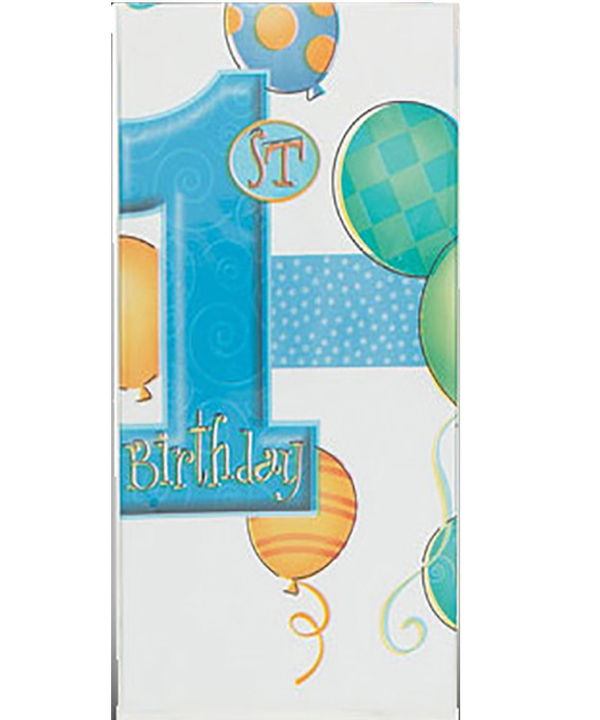 First Birthday Balloons Blue Tablecover