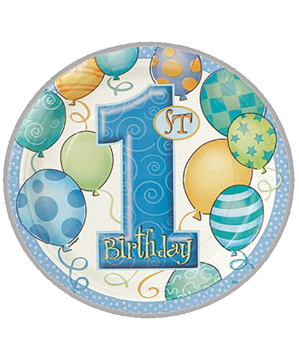 First Birthday Balloons Blue Lunch Plates