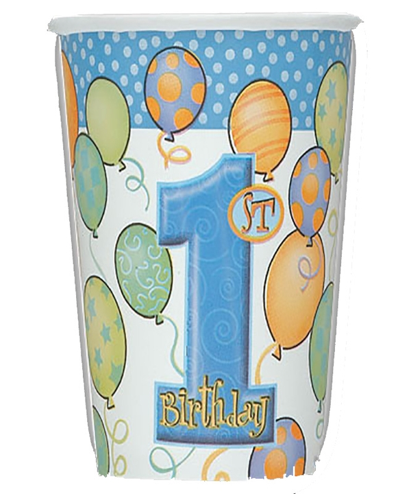 First Birthday Balloons Blue Cups