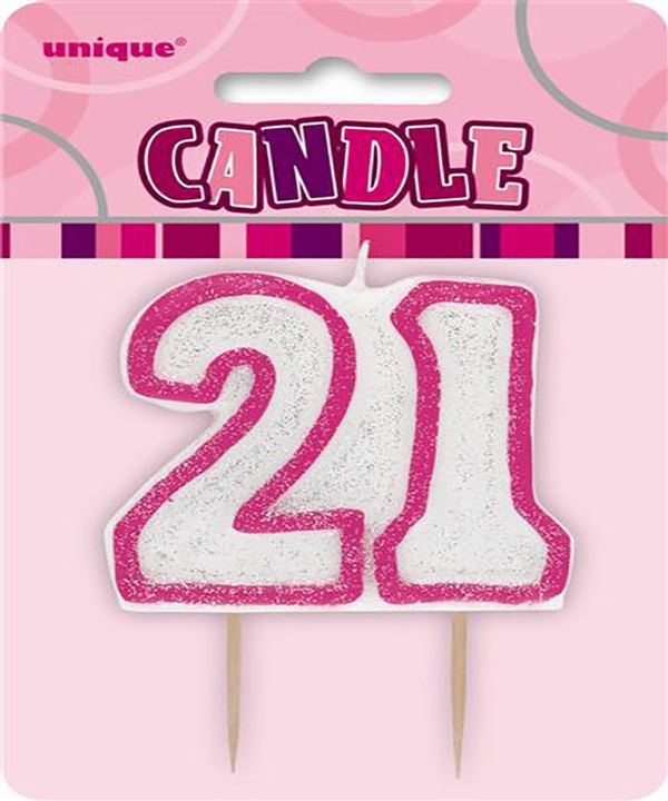 Glitz Pink Numeral 21 Candle