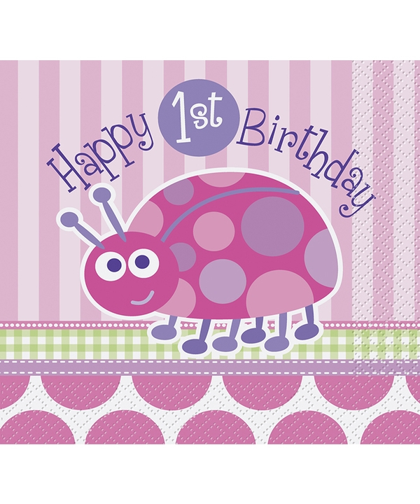 First Birthday Ladybug Lunch Napkins
