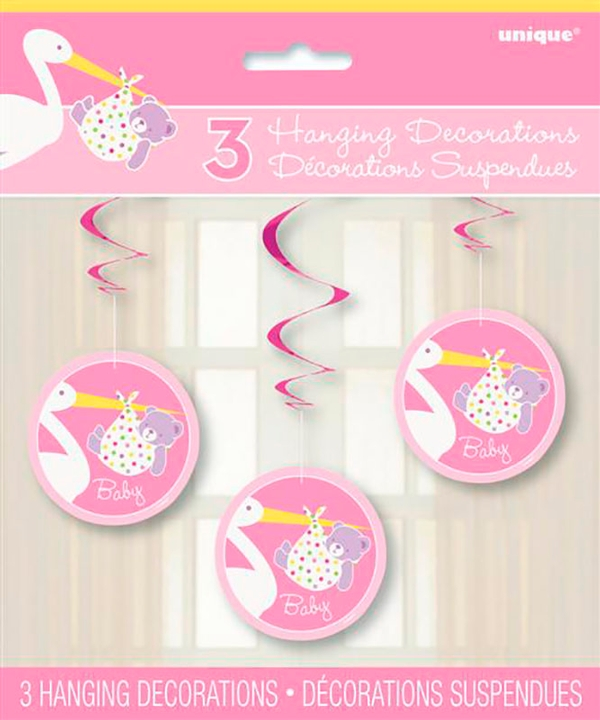 Baby Girl Stork Hanging Decorations