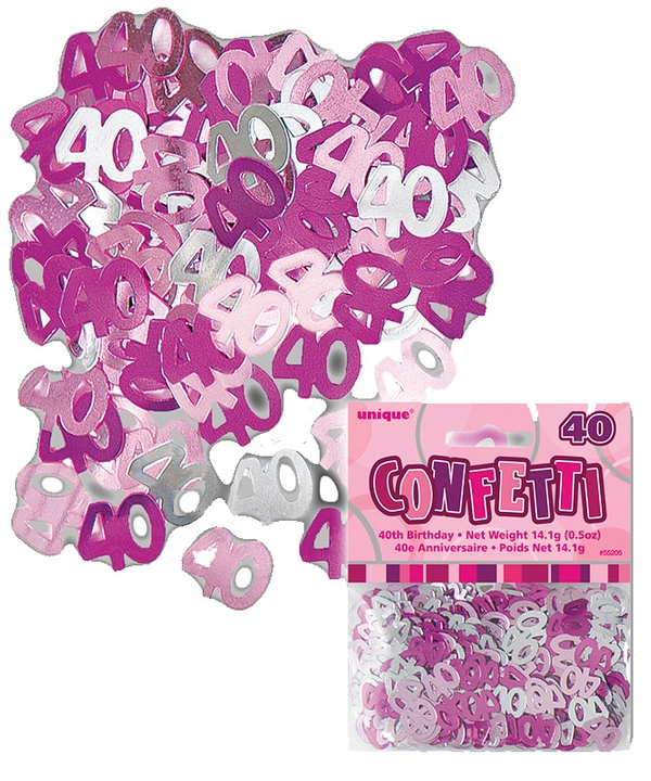 Pink Foil 40th Birthday Confetti