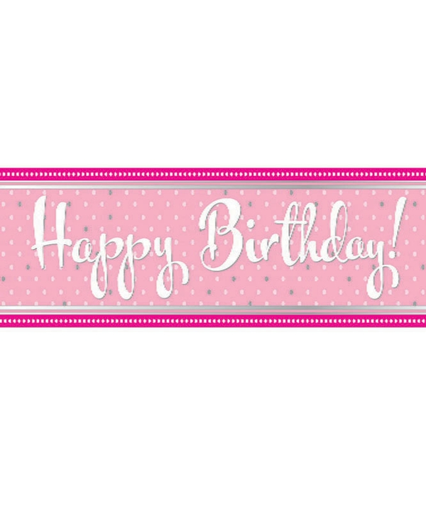 Perfectly Pink Happy Birthday 9Ft Foil Banner