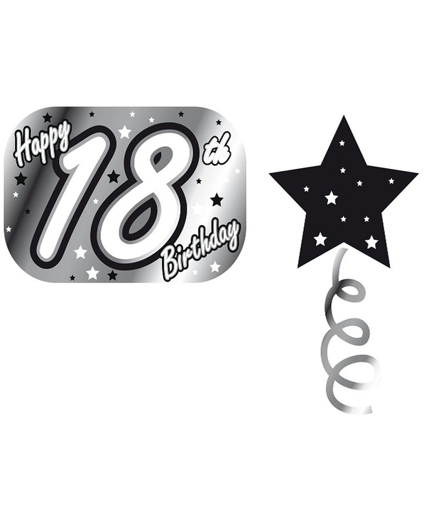 Embossed Foil Garland 18th Bday Black/Silver/White