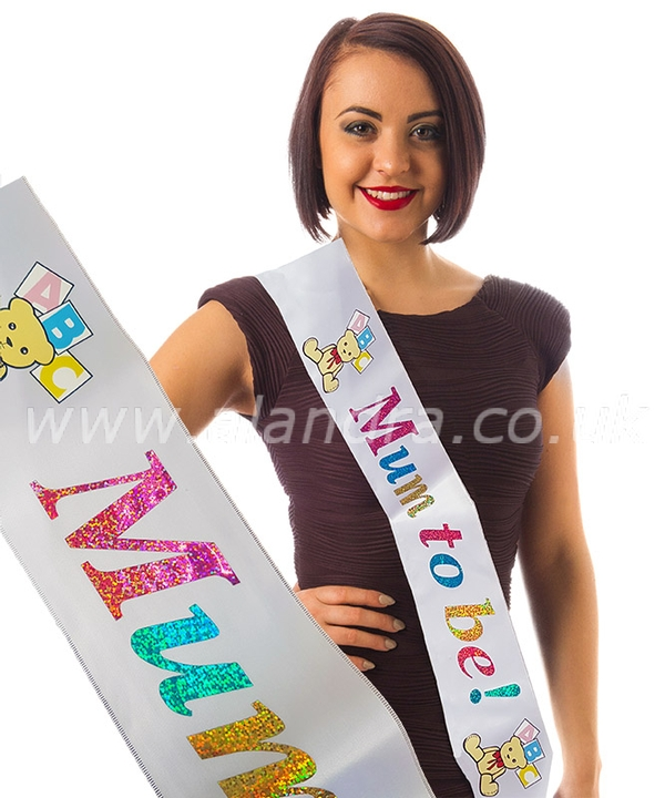 White Mum to Be Sash