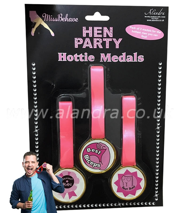 3 Hottie Hen Night Award Medals