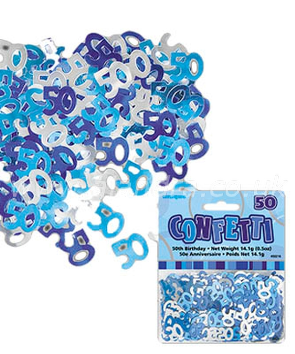 Blue Foil 50th Birthday Confetti