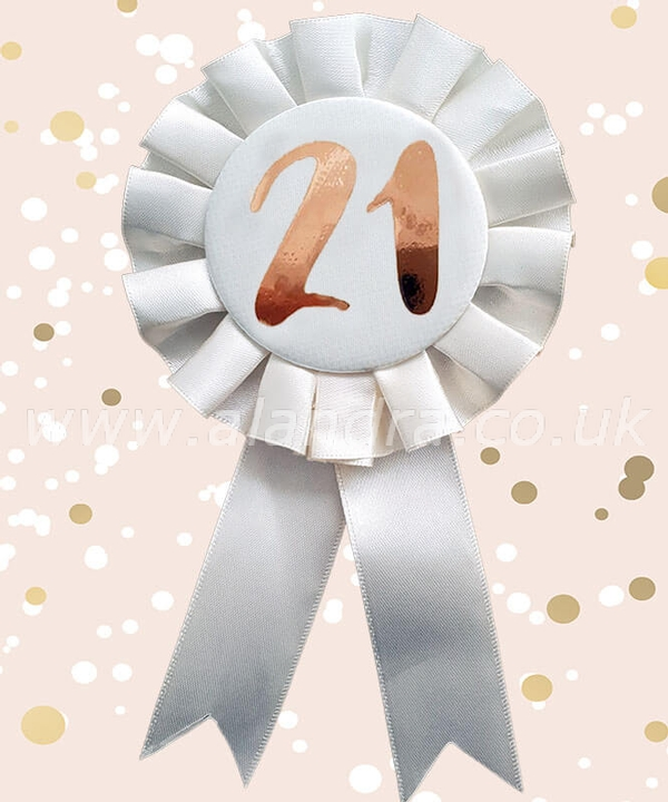 Cream & Gold 21st Rosette Badge