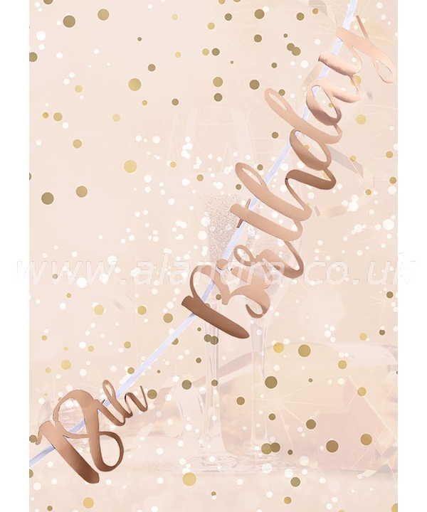 18th Birthday Rose Gold Letter Script Bunting