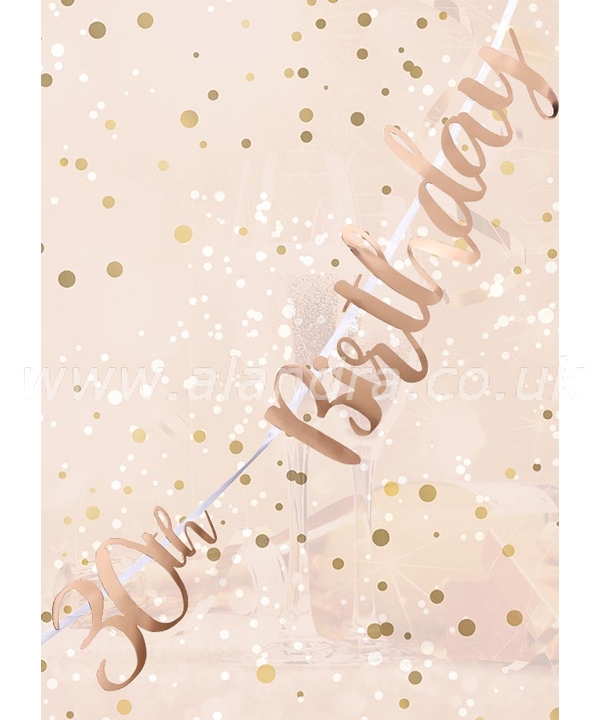 30th Birthday Rose Gold Letter Script Bunting