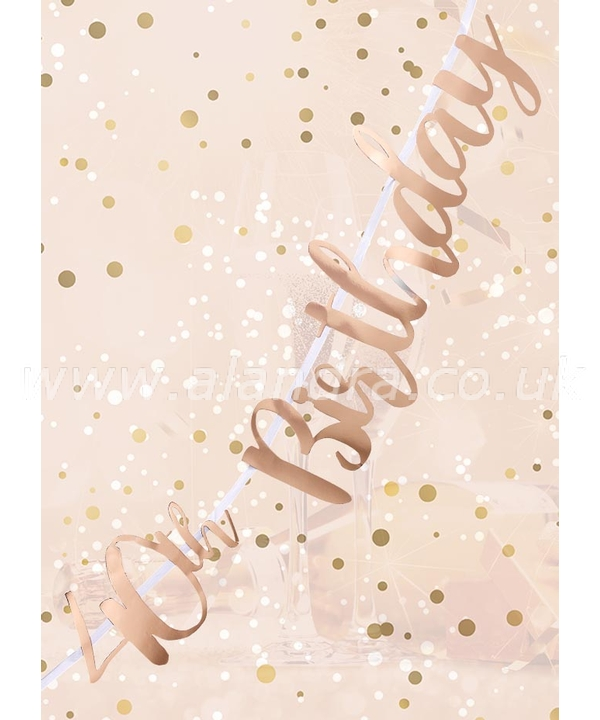 40th Birthday Rose Gold Letter Script Bunting