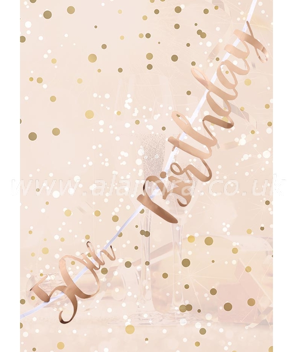50th Birthday Rose Gold Letter Script Bunting