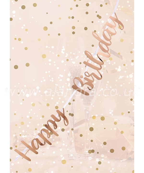 Happy Birthday Rose Gold Letter Script Bunting