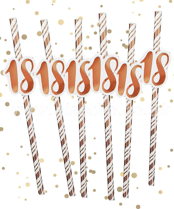 18th Birthday Rose Gold Straws Pack of 6