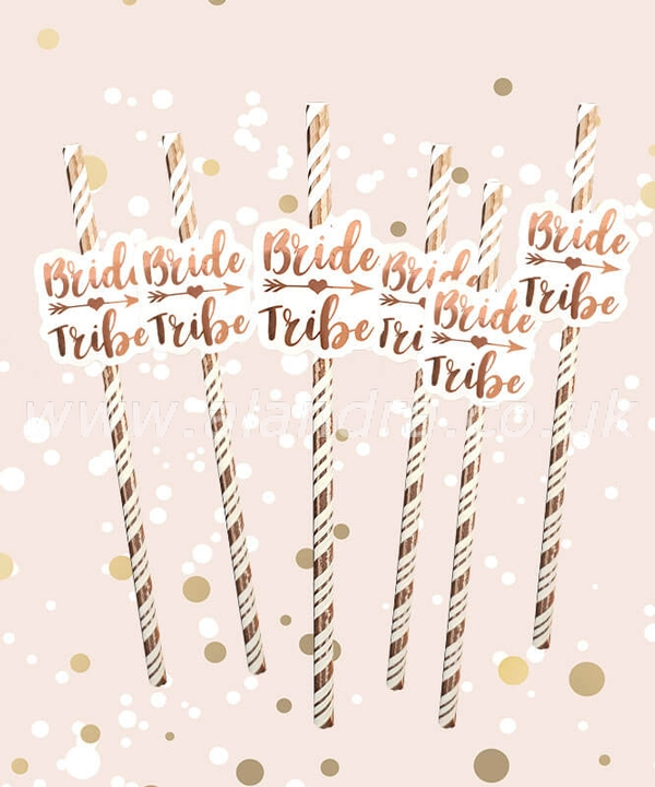 Bride Tribe Rose Gold Straws Pack of 6
