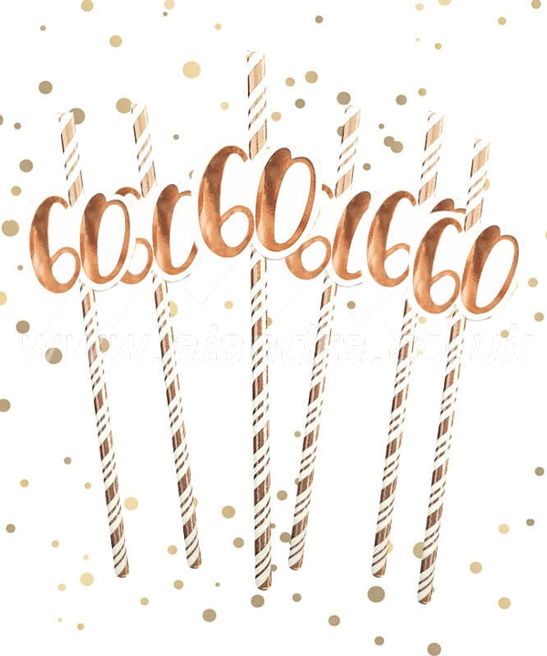 60th Birthday Rose Gold Straws Pack of 6