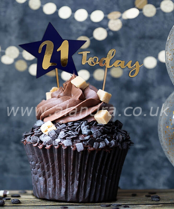 Personalised Cake Topper Navy Gold