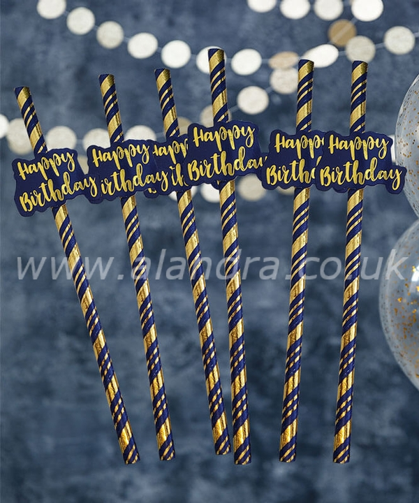 Navy & Gold Happy Birthday Straws Pack of 6